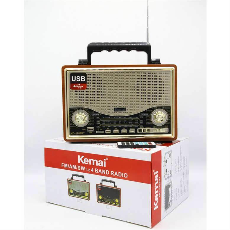 Kemai MD-1706BT Bluetooth USB-SD-FM kumandalı Nostaljik Radyo