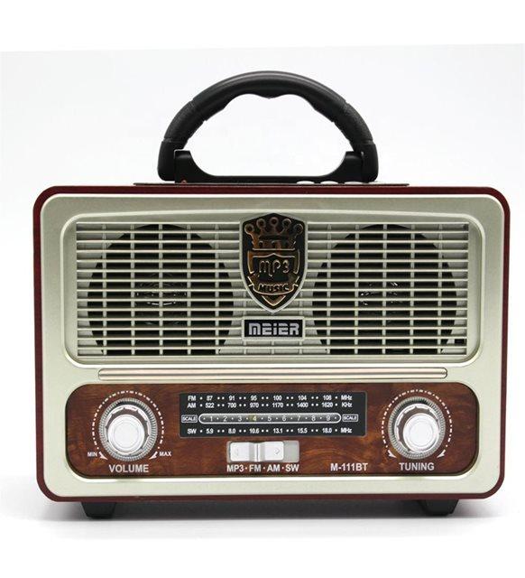 Meier 111BT Klasik Çok Fonksiyonlu Fm Radyo-Usb-Bluetooth-TfCard